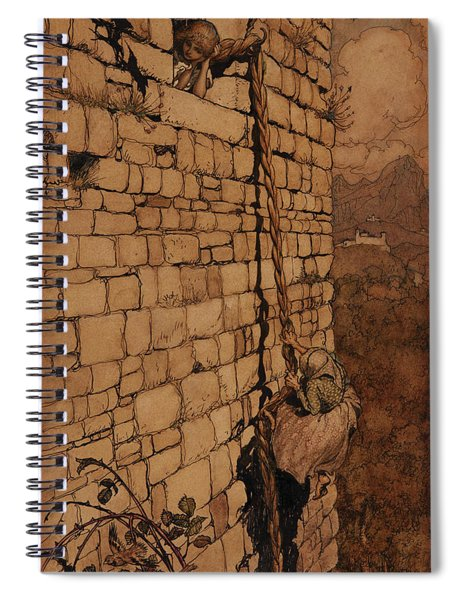 The Witch Climbed Up, Rapunzel, Grimm's Fairy Tales, 1909 Spiral Notebook