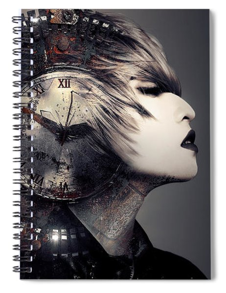 Spiral Notebook featuring the digital art The Woman That Time Forgot by ISAW Company