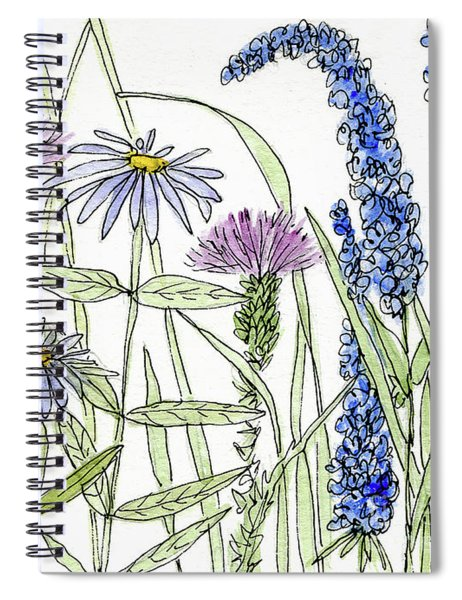 Thistle Asters Blue Flower Watercolor Wildflower Spiral Notebook
