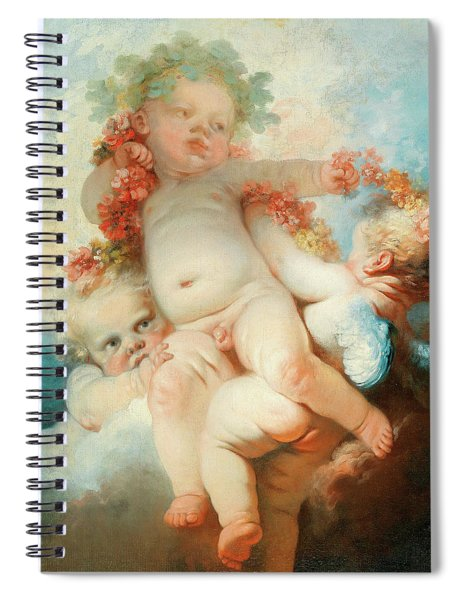 Three Putti Crowned With Flowers Spiral Notebook