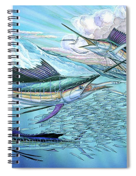 Three Sailfish And Bait Ball Spiral Notebook