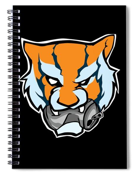 Tiger Head Bitting Beer Can Orange Spiral Notebook