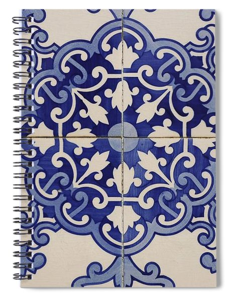 Tiles With Geometric And Plant Motifs Located In The Town Square, Castro Verde. Alentejo. Portugal. Spiral Notebook