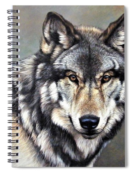 Spiral Notebook featuring the painting Timber Wolf By Alan M Hunt by Alan M Hunt