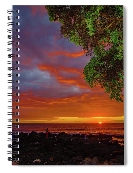 Tree  Sea And Sun Spiral Notebook