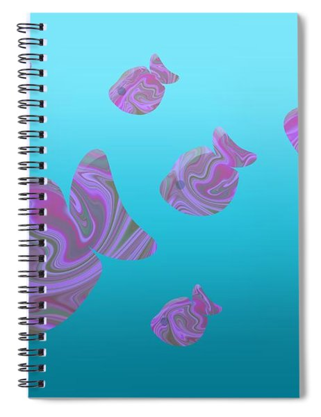 Tropical Fish In Pink Psychedelic Pattern Spiral Notebook