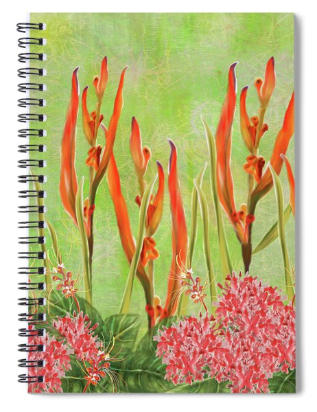 Tropical Floral Print Lime Green Batik Spiral Notebook