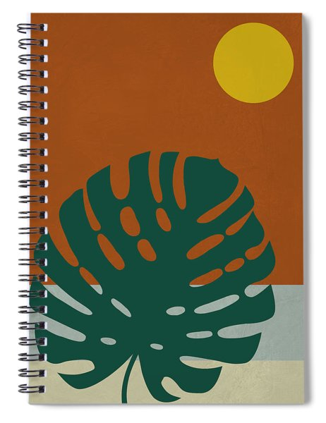 Tropical Leaf And Blue Moon Spiral Notebook