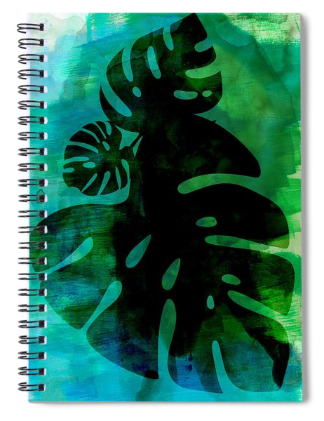 Tropical Monstera Leafs Watercolor Spiral Notebook