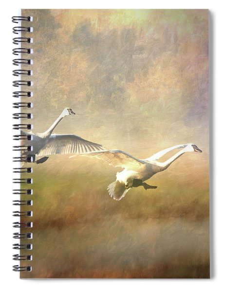 Spiral Notebook featuring the photograph Trumpeter Swan Landing - Painterly by Patti Deters