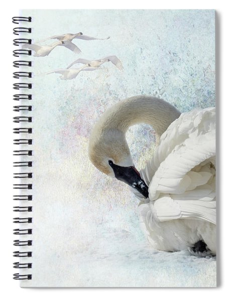 Spiral Notebook featuring the photograph Trumpeter Textures #2 - Swan Preening by Patti Deters