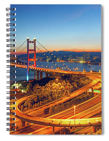 Tsing Ma Bridge At Night Spiral Notebook