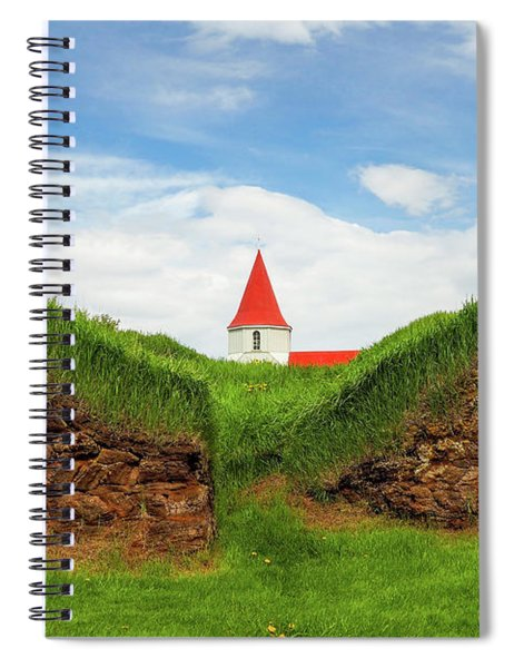 Turf House And Steeple - Iceland Spiral Notebook