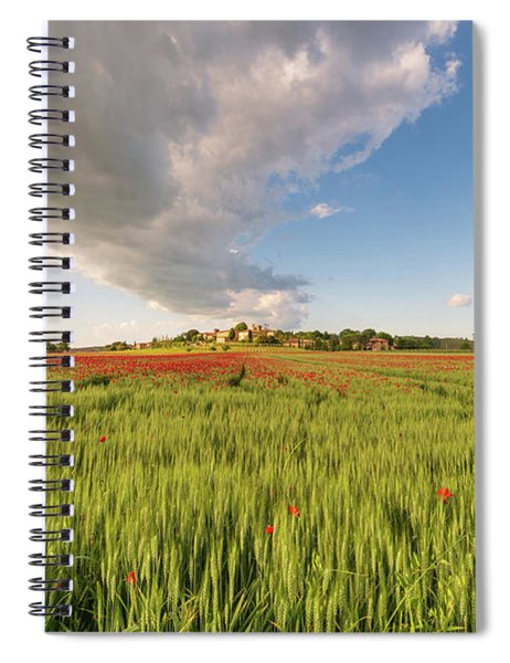 Tuscany Wheat Field Dotted With Red Poppies Spiral Notebook