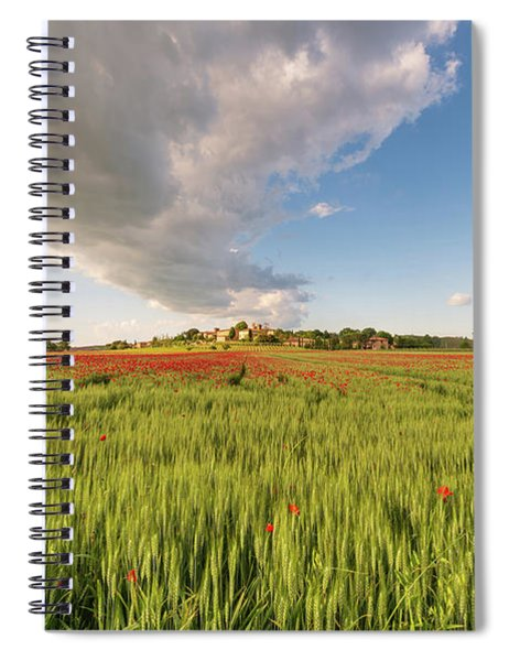Tuscany Wheat Field Dotted With Red Poppies Spiral Notebook by Mirko Chessari