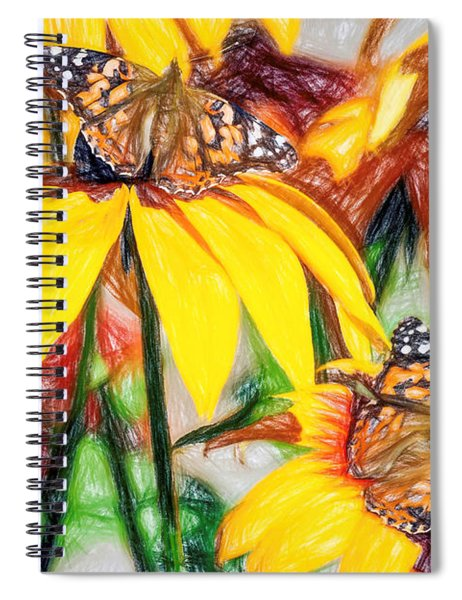 Twin Painted Lady Butterflies Pencil Spiral Notebook