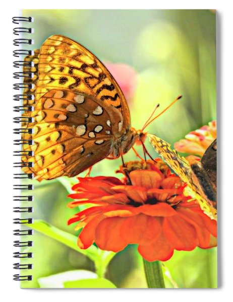 Two Butterflies On One Flower. Spiral Notebook
