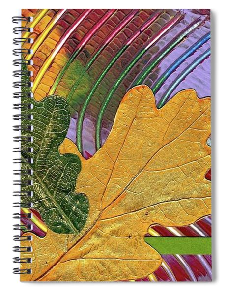 Spiral Notebook featuring the mixed media Two Oaks by Koka Filipovic
