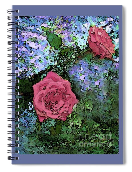 Two Pink Roses On Blues Spiral Notebook