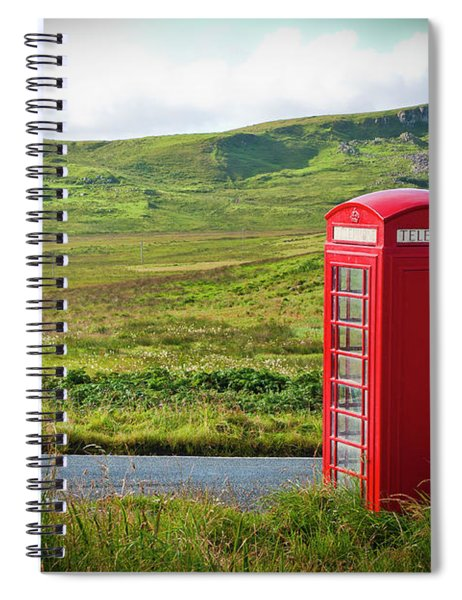 Typical Red English Telephone Box In A Rural Area Near A Road. Spiral Notebook