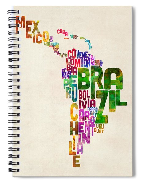 Typography Map Of Latin America, Mexico, Central And South America Spiral Notebook
