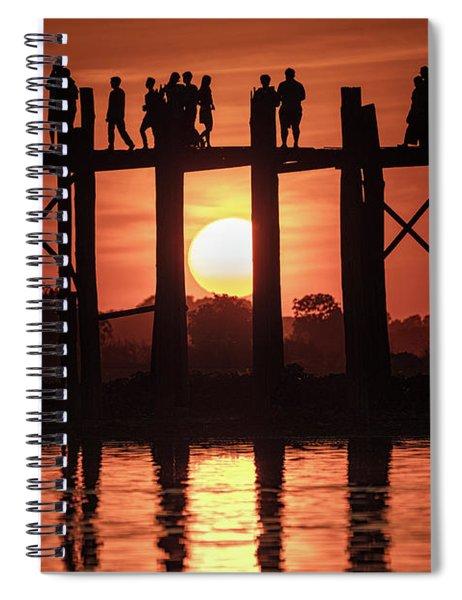 U Bein Bridge Sunset Spiral Notebook