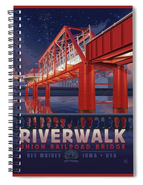 Union Railroad Bridge - Riverwalk Spiral Notebook by Clint Hansen