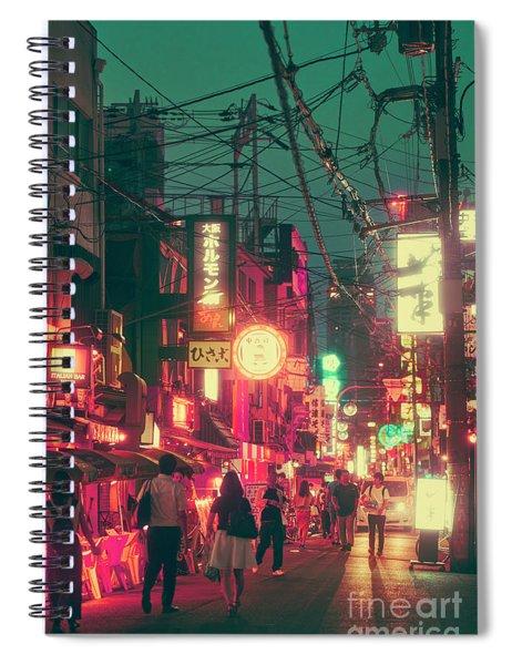 Ura Namba Street Nightlife Osaka Japan Spiral Notebook