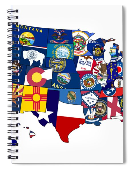 Usa States Flags Map Spiral Notebook