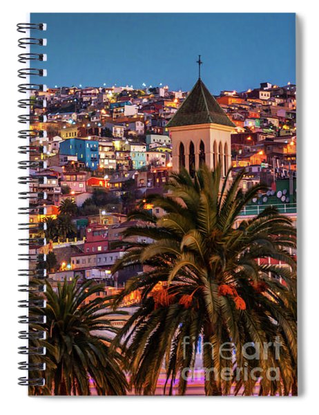 Valparaiso Illuminated At Night Spiral Notebook
