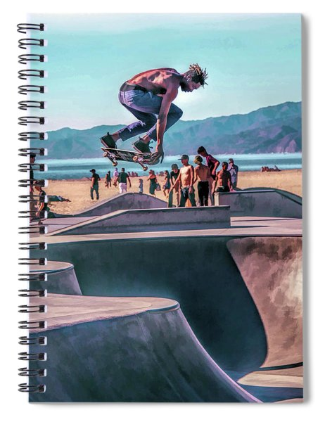 Venice Beach Skateboarder Spiral Notebook by Christopher Arndt