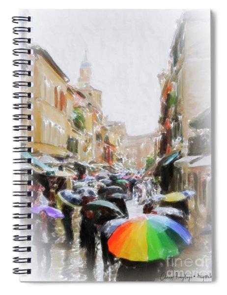 Venice In The Rain Spiral Notebook
