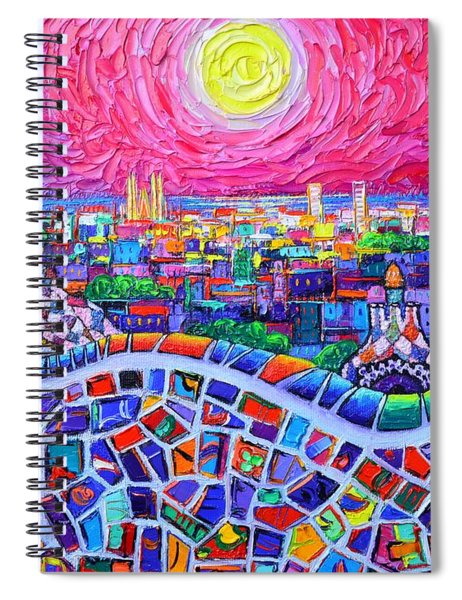 Vibrant Barcelona Night View From Park Guell Modern Impressionism Knife Painting Ana Maria Edulescu Spiral Notebook