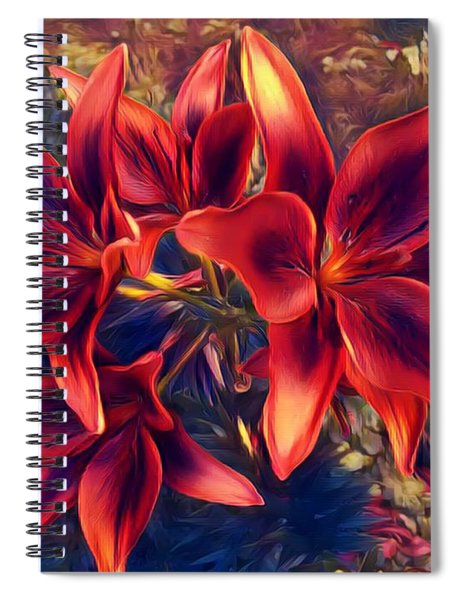 Vibrant Red Lilies Spiral Notebook