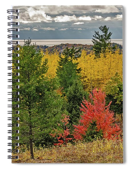 Vibrant Shades Of Red, Green, And Yellow Leaves Spiral Notebook