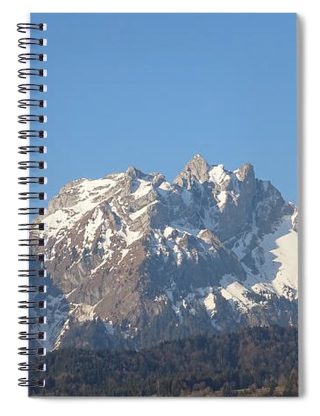 Spiral Notebook featuring the photograph View From My Art Studio - Pilatus I - April 2019 by Manuel Sueess