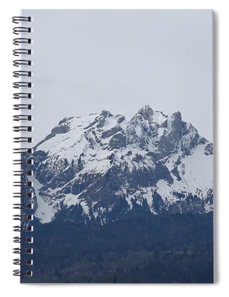 Spiral Notebook featuring the photograph View From My Art Studio - Pilatus - March 2018 by Manuel Sueess