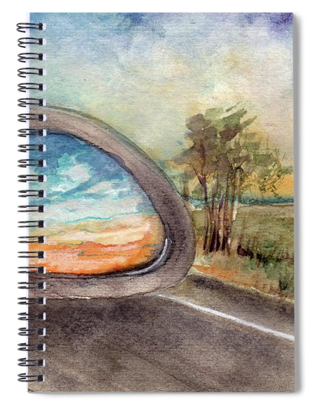 View From The Car Window At Sunset Spiral Notebook