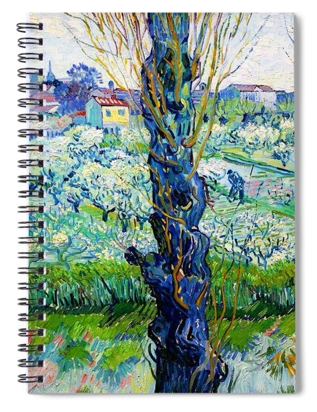 View Of Arles, Flowering Orchards - Digital Remastered Edition Spiral Notebook