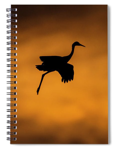 View Of Flying Sandhill Crane, Soccoro Spiral Notebook