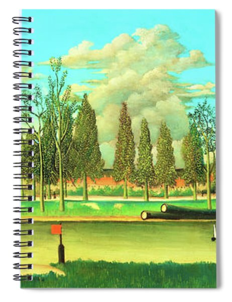 View Of The Quai Asnieres-the Canal And Landscape With Tree Trunks - Digital Remastered Edition Spiral Notebook