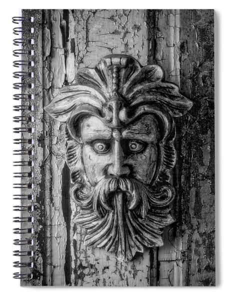 Viking Mask On Old Door In Black And White Spiral Notebook