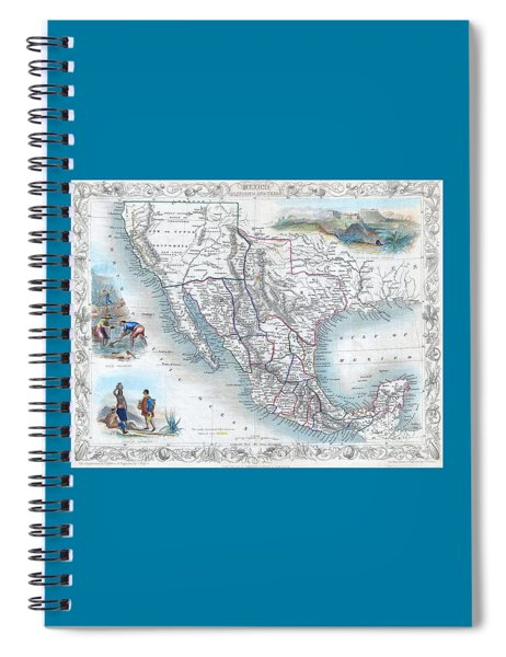 Vingage Map Of Texas, California And Mexico Spiral Notebook