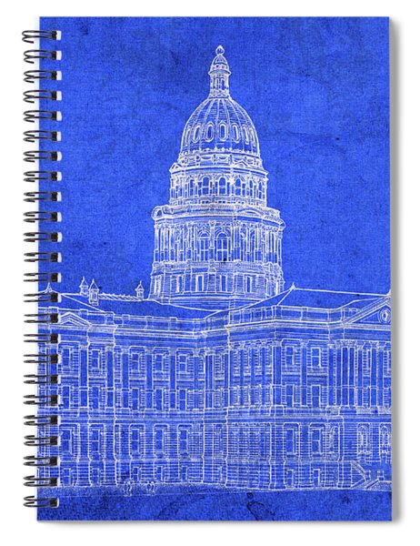 Vintage Colorado State Capitol Building Exterior Architecture Blueprints Spiral Notebook