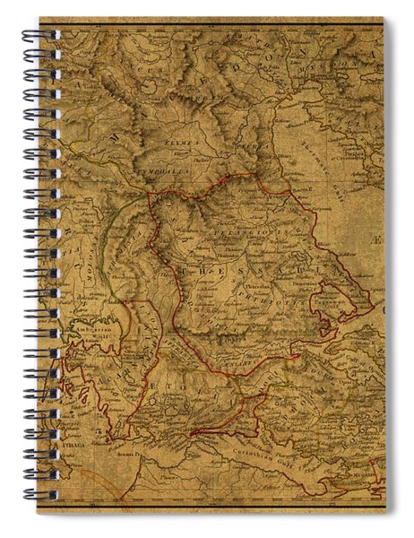 Vintage Map Of Ancient Greece Northern Region Spiral Notebook