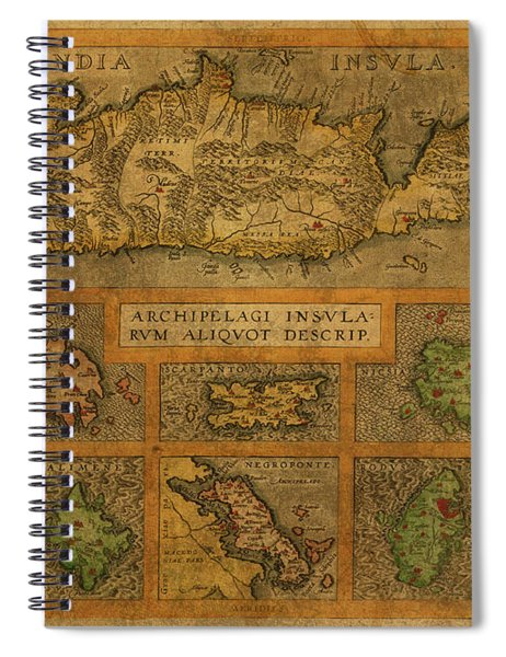 Vintage Map Of Crete And The Greek Isles Spiral Notebook