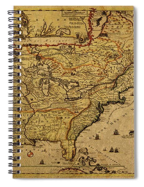 Vintage Map Of French America 1719 Spiral Notebook
