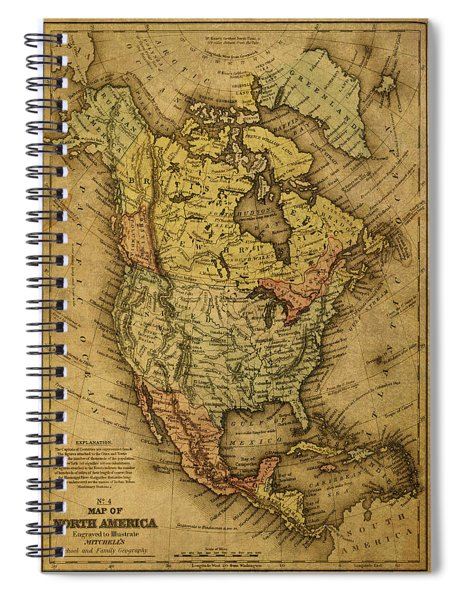 Vintage Map Of North America 1858 Spiral Notebook