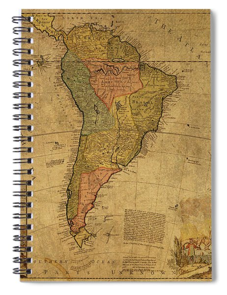 Vintage Map Of South America 1715 Spiral Notebook