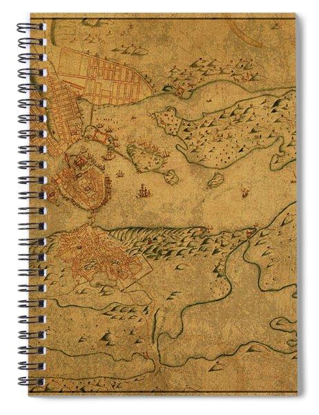 Vintage Map Of Stockholm Sweden 1640 Spiral Notebook